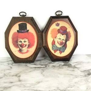 """Set of Two Wooden Clown Pictures 6""""x5"""""""